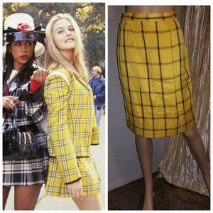 Authentic vintage yellow and black pencil skirt