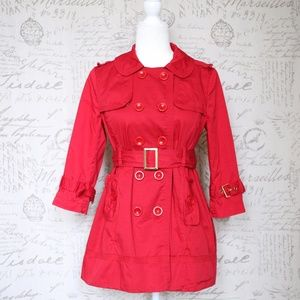 Forever 21 Red Trench Coat Small