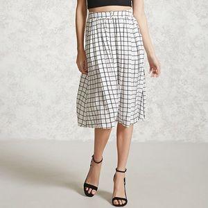 Forever 21 | Windowpane Grid Pocket Midi Skirt XL