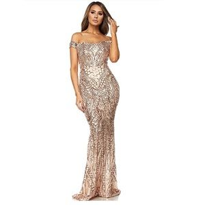 Off Shoulder sequin beaded maxi dress