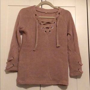 Rose Lace Up Sweater