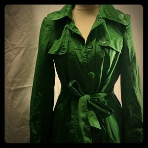 The limited women's size 10 green trench coat