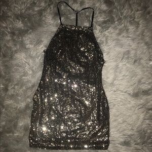 Gold & black backless/strappy sequin dress