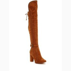 Faux suede over the knee boots.