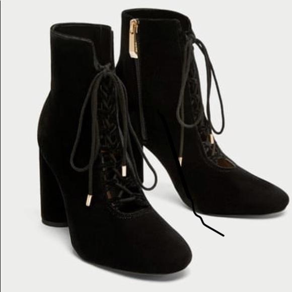 Black Velvet Lace Up Booties | Poshmark