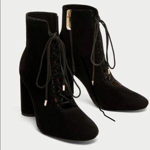Black velvet lace up booties