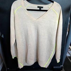 J. Crew Lightweight Cream and Yellow Sweater XL