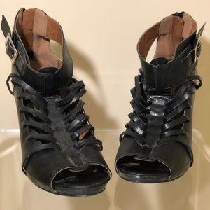 Black Strap Leather Heels