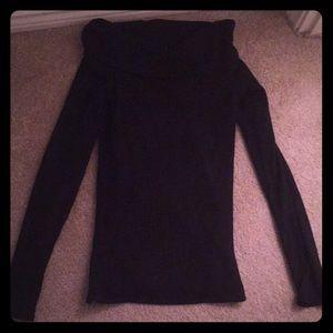 Ribbed Shoulder Sleeve Black A&F Sweater