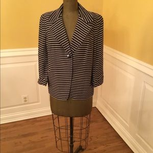 Coldwater Creek Navy/White Striped Blazer.