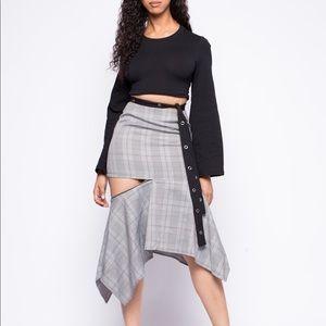 High waist plaid skirt with side split
