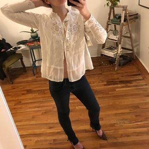 Vintage white eyelet long sleeve peasant blouse