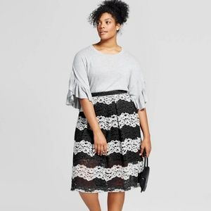 Who What Wear plus size lace midi skirt, NWOT