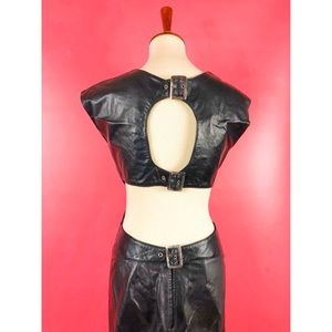 Vtg 90s Leather Exposed Back Buckle Wiggle Dress M