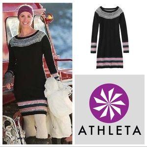 Athleta Fair Isle Black cashmere sweater dress