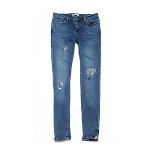Zara Z1975 Ripped Torn Skinny Jeans Zipper Ankles