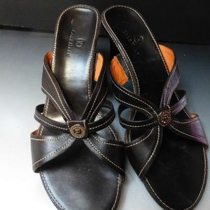 cole haan black leather sandals 10m