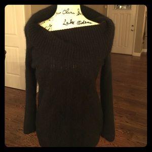 Off-the-shoulder black sweater