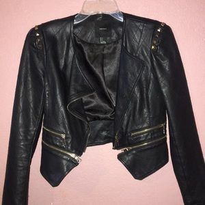 Black Leather Jacket white gold details