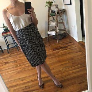 Vintage Black+white abstract print pencil skirt
