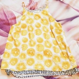 Anthropologie lemon yellow and blue tank top S