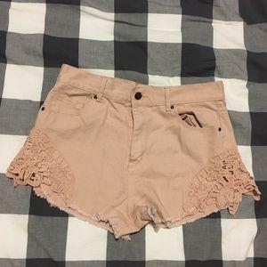 Blush high waisted denim shorts Forever 21