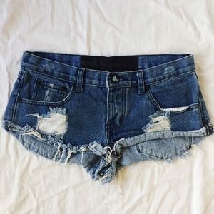 💙 One Teaspoon Blue Distressed Trashwhores Shorts