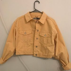 NWT Topshop Mustard Yellow Cropped Jean Jacket
