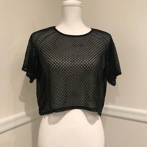 American apparel mesh jersey crop top one size