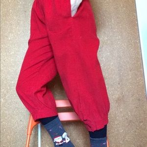Christmas Santa Red Corduroy High Waist Capris