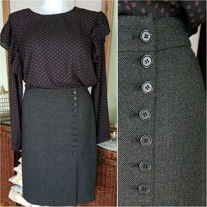Ann Taylor Tweed Wool Side Button Pencil Skirt