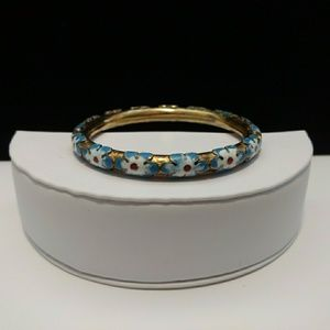 🌻Vtg. Unique Hand Painted Gold-tone Bangle