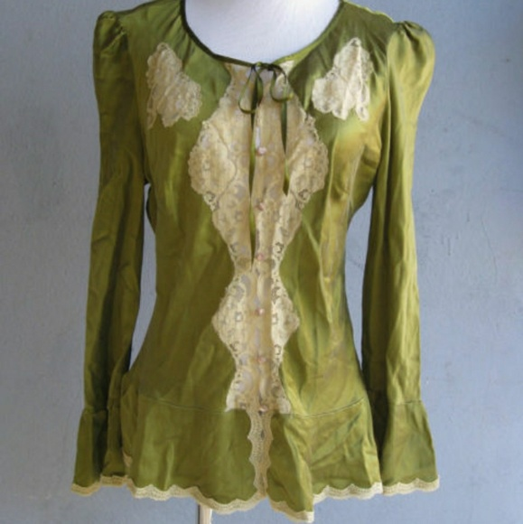 2b45f7fa95c2a7 Free People Tops | Olive Green Silk Blouse | Poshmark