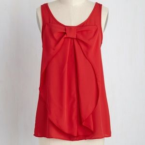 ModCloth red Hello Bow top