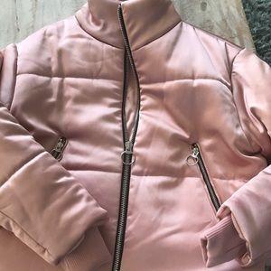 Pink Satin Puffer Jacket