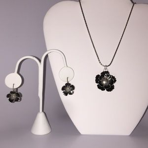 Brighton Black Flower Necklace and Earring Set.