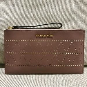 NWT Dusty Rose Michael Kors Perforated Zip Clutch