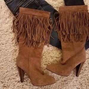 Zara Fringe Brown Suede Leather Heel Boots
