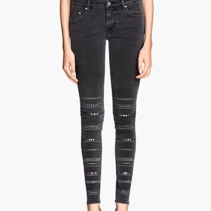 H&M black cigarette jeans with studded legs
