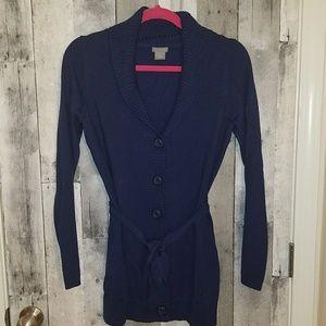 Ann taylor navy blue long cardigan sweater wool