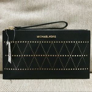 NWT Black Michael Kors Perforated Zip Clutch
