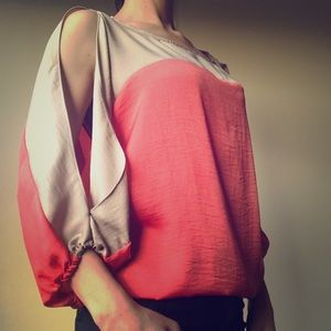 Coral /Tan Susie Blouse from BCBGMaxAzria