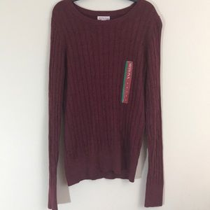 NEW ✨ Maroon Light Cable Knit Pullover Sweater