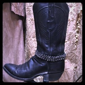 Crystal choker necklace and boot chain.