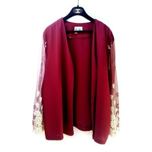 Vintage East West Red Lace Embroidered Sleeve Top