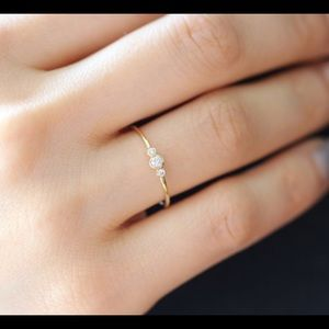 Jewelry - Delicate 14k Gold band with Three Tiny Crystals