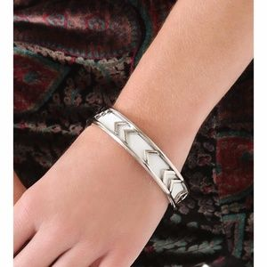 House of Harlow 1960 White Carved Leather Bracelet