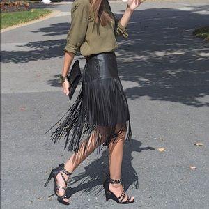 Kensei Black leather fringe skirt