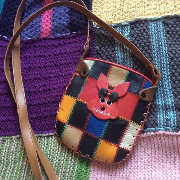 Vintage Handbags - 💫Sabah Rainbow Leather Patchwork Mini Crossbody