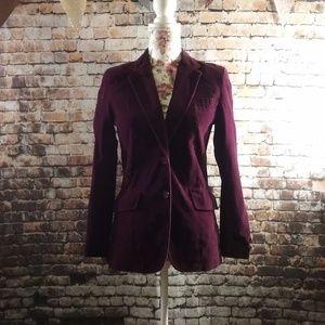Vintage 80's Burgundy Velvet Blazer
